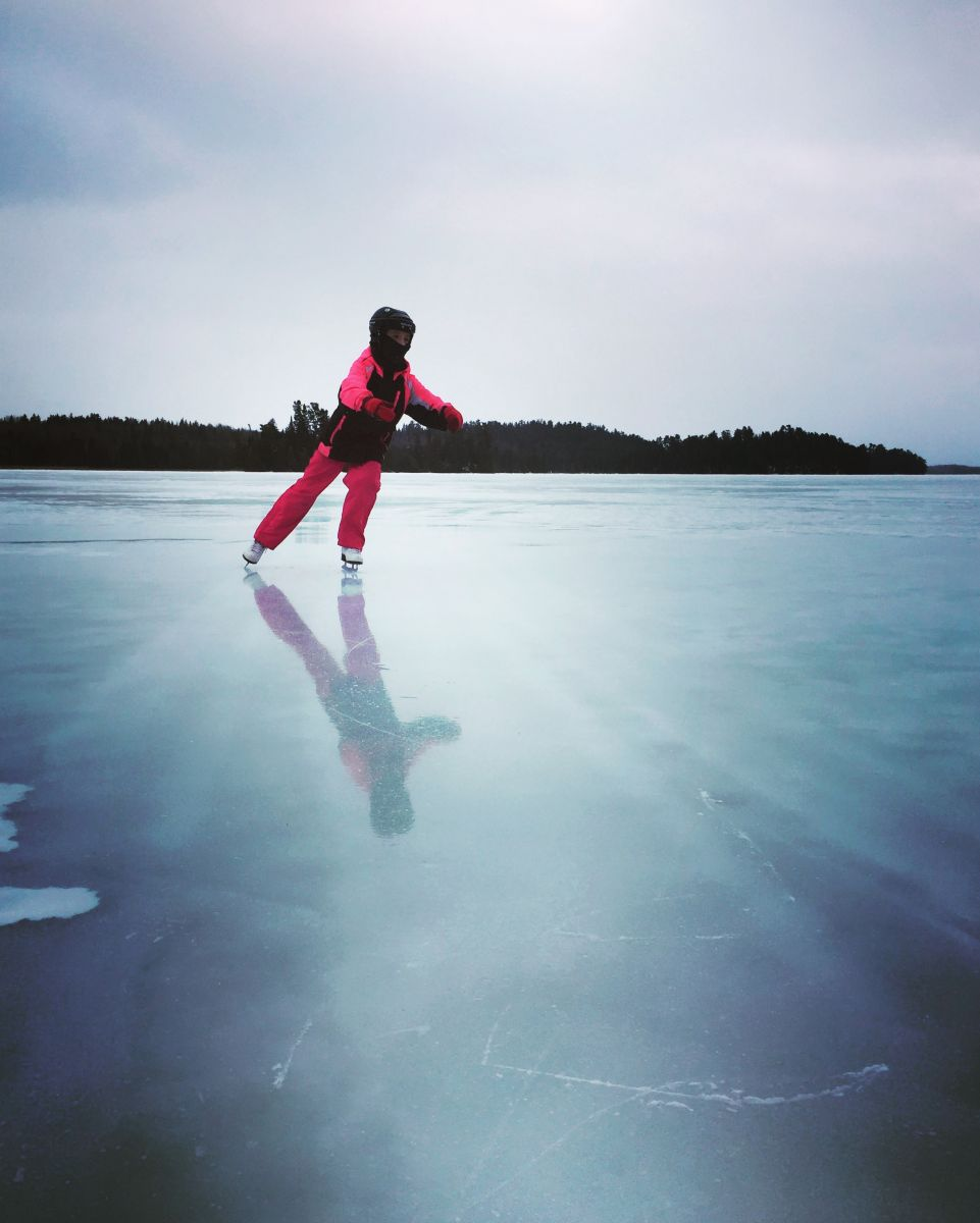 Skating on a frozen eagle lake