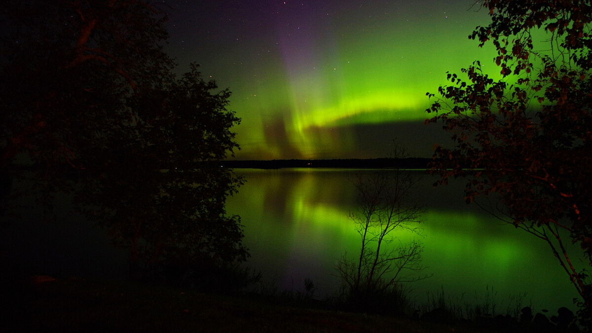 Aurora Borealis over Lake of the Woods Canada